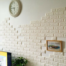 3D Foam Stone Brick Self-adhesive Wallpaper DIY Wall Sticker Panels Decal White