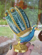 Hand Decorated REAL Goose Egg Collectible Trinket Gift Box Peacock Cats Eye