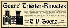 C.P. Goerz Berlin Trieder-Binocles Optische Anstalt Historische Reklame von 1903