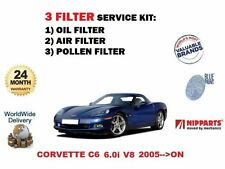 FOR CHEVROLET CORVETTE C6 6.0 V8 LS2 2005-  OIL AIR POLLEN 3 FILTER SERVICE KIT