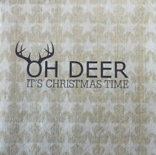 4 X single PAPER NAPKINS TABLE PARTY- OH DEER  DECOUPAGE AND CRAFTING-77