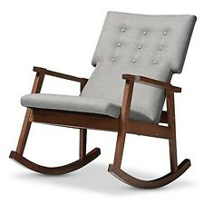 Agatha Mid-Century Modern Grey Fabric Upholstered Button-Tufted Rocking Chair