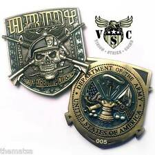 """ARMY 101ST AIRBORNE DIVISION SCREAMING EAGLES SKULL MILITARY 2"""" CHALLENGE COIN"""