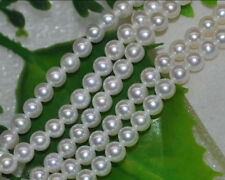 """Natural 6-7mm AAA white luster round AKOYA pearl Loose Bead 15"""""""