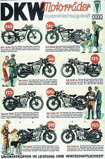 Vintage DKW Motorcycle Poster showing models and prices  11 x 17 Giclee Print