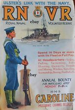 WW1 HMS CAROLINE ULSTER ROYAL NAVAL VOL RES NEW A4 PRINT BELFAST RNVR N IRELAND