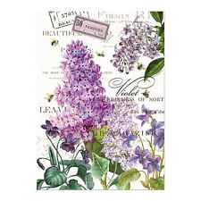 Michel Design Works Cotton Kitchen Tea Towel Lilac & Violets Floral - NEW