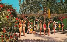 c1950s Beautiful Flowers and Girls, Weeki Wachi, Florida Postcard