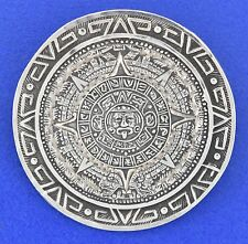 Vintage Mexico Sterling Silver Aztec Sundial Calendar Stone Pendant Brooch / Pin