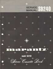 Marantz Service Manual Model SD240 Cassette tape deck palyer Original Repair