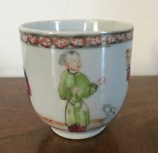 Antique Chinese Export Porcelain Tea Cup Famille Rose 1760 18th c. Figural