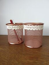Copper Rose Gold Wire Metal Storage Basket Make-Up Brush Holder Pen Pot