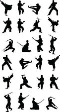 Martial Arts/Karate/Kung Fu Stickers Multi Pack x 24 - Ninja - Combat Silhouette