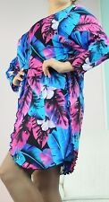 Multi color Floral  CAROL WIOR  long dressing gown cover up wrap robe OS