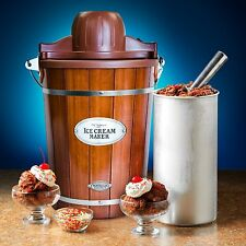 Nostalgia Vintage 6-Quart Wood Bucket Electric Ice Cream Maker, ICMP600WD New