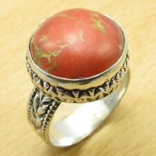 925 Silver Plated ORANGE COPPER TURQUOISE DESIGNER Ring Size US 8 ONLINE STORE
