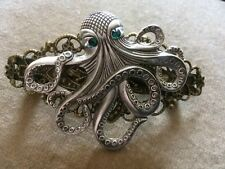 STEAMPUNK  SILVER OCTOPUS (emerald Green Crystals) HAIRGRIP