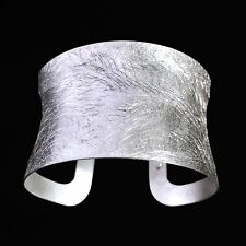 Pr Ex Italy Solid Sterling Silver Brushed Women's Ladies Wide Cuff Bracelet 31gr
