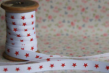 5m Bertie's Bows 9mm Red Stars on White Grosgrain Ribbon
