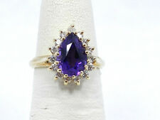 Fine African Pear Amethyst And Diamond Cocktail 14k Yellow Gold Fashion Ring