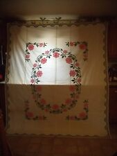 HANDMADE FULL QUILT, HANDSTITCHED NEEDLEPOINT ROSES IN PINK W/GREEN, VINING