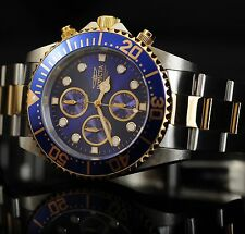 INVICTA PRO DIVER 18k GOLD ION PLATED BLUE TWO TONE MENS WATCH BRAND NEW