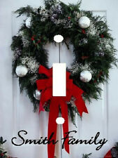 PERSONALIZED CHRISTMAS WREATH RED BOW DOOR LIGHT SWITCH PLATE COVER