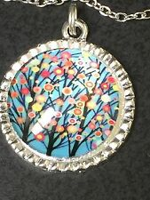 """Tree of Life Springtime Floral Charm Tibetan Silver with 18"""" Necklace BIN"""