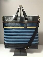 Rare Coach Bleecker Bar Stripe Leather Day Tote Bag F71197 Msrp $698.00