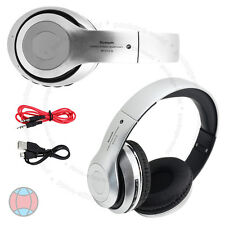 Foldable Wireless Bluetooth 4.2 Stereo Silver Headphone FM Mic Handsfree DCUK