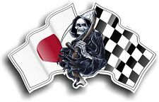 Death The GRIM REAPER & Japan Japanese Hinomaru Racing Flag vinyl car sticker