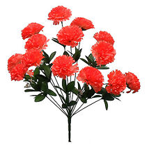 14 Carnations CORAL ORANGE Long Stems Silk Wedding Flowers Bouquets Centerpieces