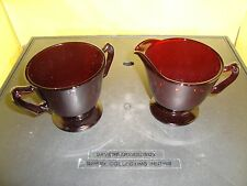 Anchor Hocking Royal Ruby Red Sugar Bowl & Creamer Set Vintage Glass Collectible