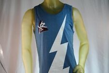 YOUNG & RECKLESS BLUE MEN TANK TOP WHITE LIGHTNING BOLT LOGO size Large