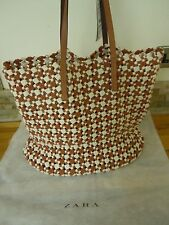 Zara Leather Woven Fabric Shopper Brand New with Tag