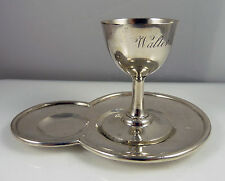 French Antique Solid Silver Egg Cup & Stand / Saucer - Minerva Mark - Walter