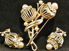 Vintage Coro Thistle Flower Pin Brooch & Earring Set Gold Tone Faux Pearls