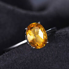 1.2ct 8mm Gorgeous Genuine Citrine Oval Solid Sterling Silver Ring Sizes 6-9