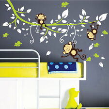 Monkey Tree Birds Animal Nursery Children Art Wall Stickers Wall Decals 443