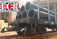 G SCALE 45mm GAUGE FLATBED WITH 7 PIPE LOAD RAILWAY TRUCK GARDEN TRAIN FLAT BED