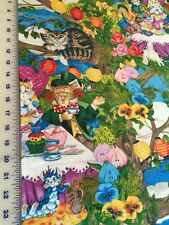 Meowice ALICE IN WONDERLAND TEAPARTY cotton fabric per yard  craft quilt sew