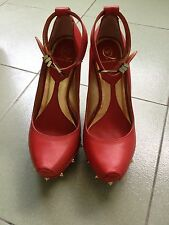ausm AUTHENTIC MCQ BY ALEXANDER MCQUEEN STUDDED WOODEN LEATHER WEDGE RED