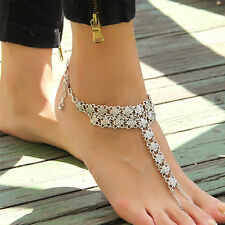 Hot Sale Bohemian Vintage jewelry 1 pc Thai Silver Carving Foot Chain Anklet