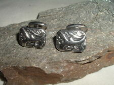 VINTAGE ART NOUVEAU SILVER DOGWOOD FLOWER FRENCH CUFFLINKS IN GIFT BOX