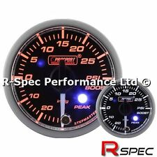 Prosport Premium / Peak 52mm Clear Lens / White Needle Turbo Boost Gauge - Psi