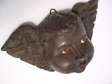 VTG ANTIQUE OLD MEXCAN HAND CARVED WOOD DARK ANGEL HEAD; INSERTED GLASS EYES