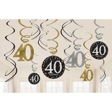 Happy 40th Birthday Hanging Swirls Party Decorations Gold Black Adults