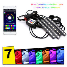 6W 4x 9LED Remote Control Colorful RGB Car Interior Floor Atmosphere Light Strip