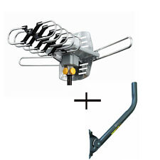 HD TV Outdoor 36dB 360° Rotor Antenna + J-Pole Mast Mount Remote 150 Miles