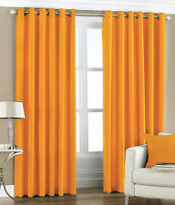 "PAIR Of ORANGE  Eyelet Taffeta Faux Silk Curtains Unlined 55"" Wide x 90"" Drop"